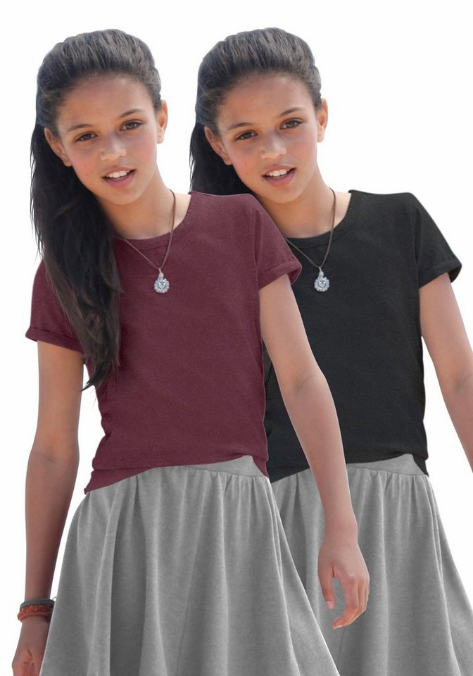 KIDSWORLD T-Shirt (Packung, 2 tlg.) in bordeaux-meliert+schwarz