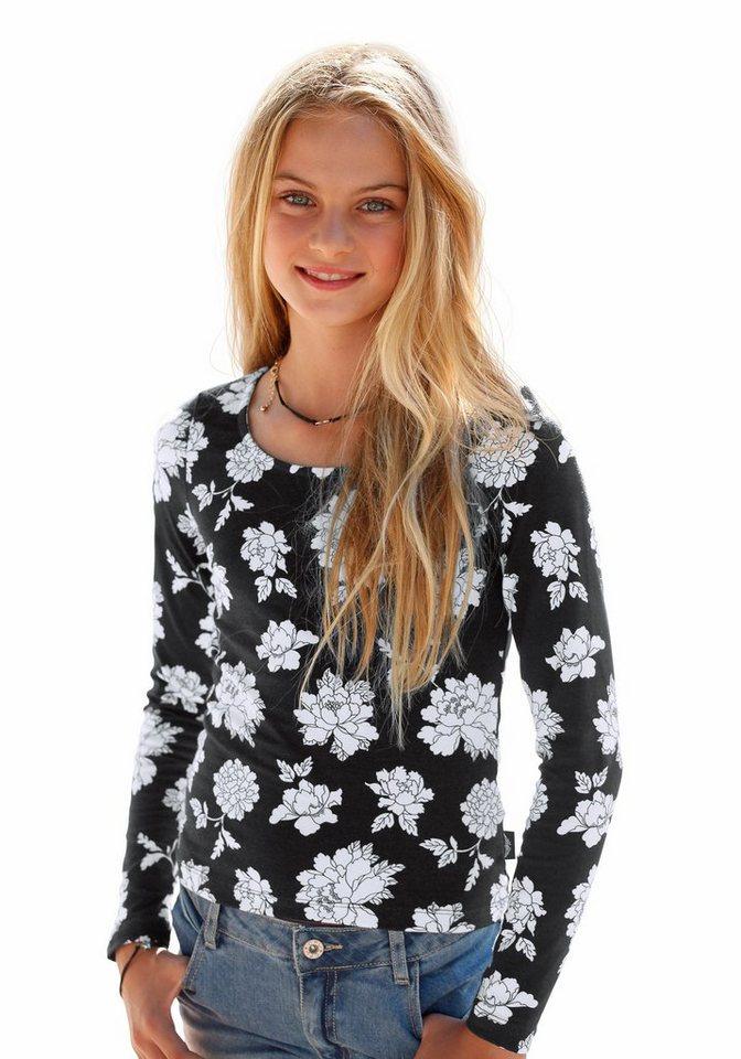 Arizona Langarmshirt in bedruckt-schwarz-offwhite