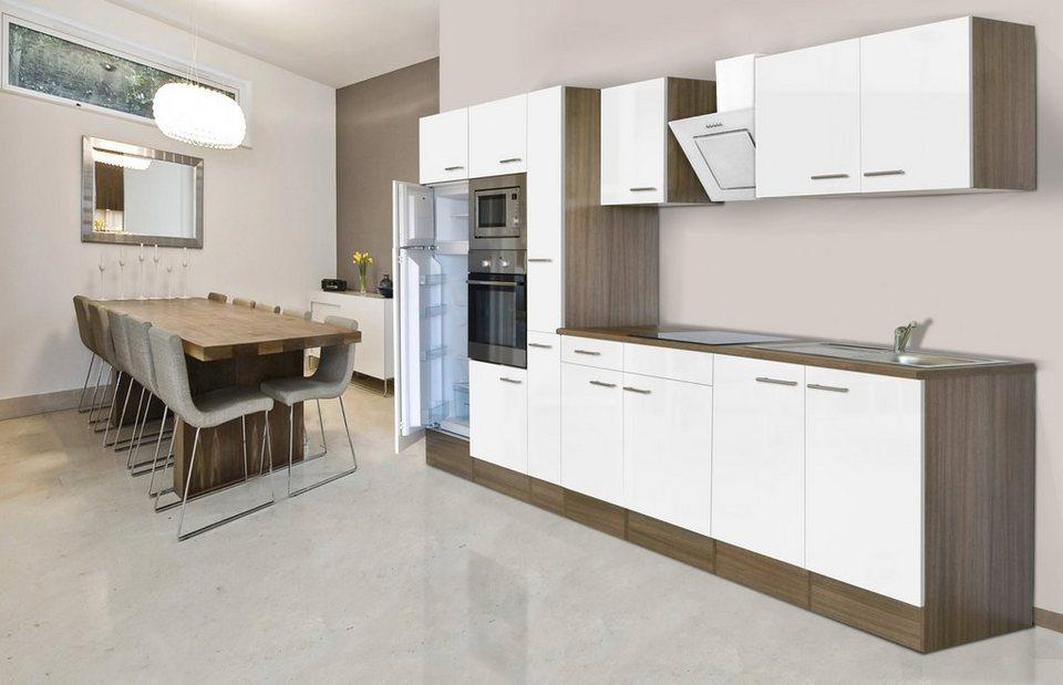 Küchenzeile mit E-Geräten »York«, Breite 360 cm in weiß/eichefarben
