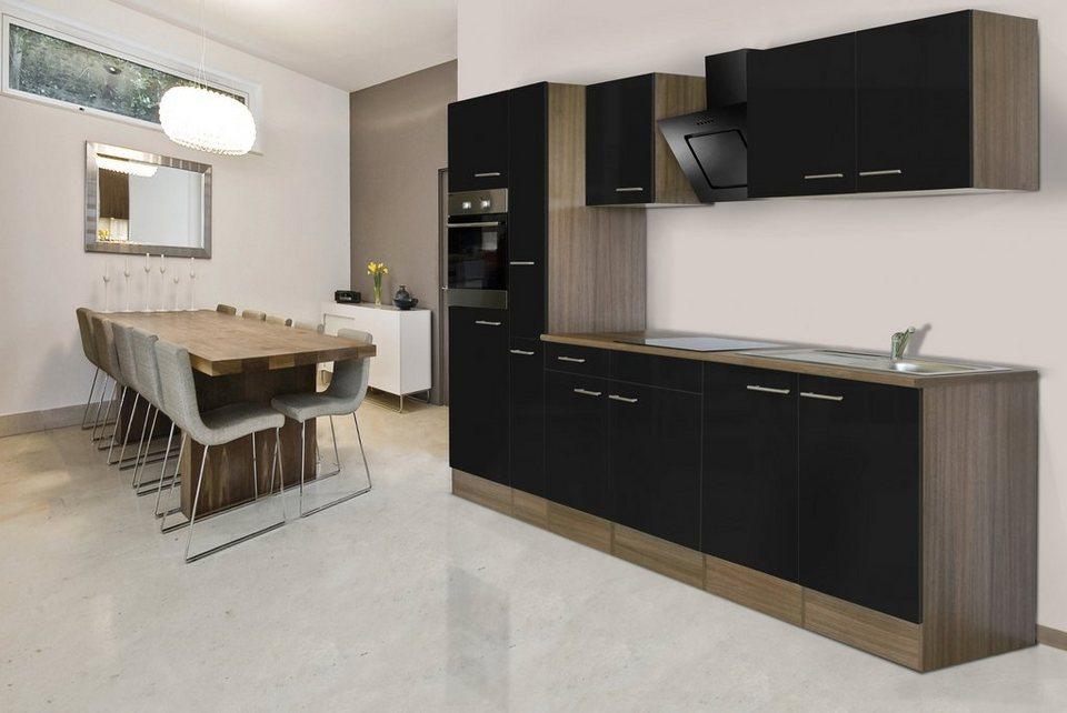 Küchenzeile mit E-Geräten »York«, Breite 300 cm in schwarz/eichefarben