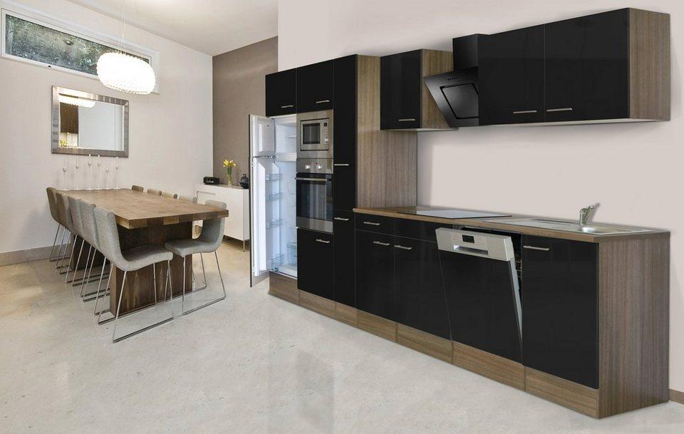 Respekta Küchenzeile mit E-Geräten »York«, Breite 370 cm in schwarz/eichefarben