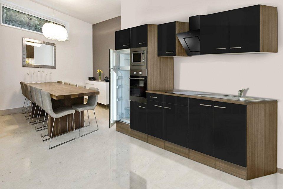 Küchenzeile mit E-Geräten »York«, Breite 330 cm in schwarz/eichefarben