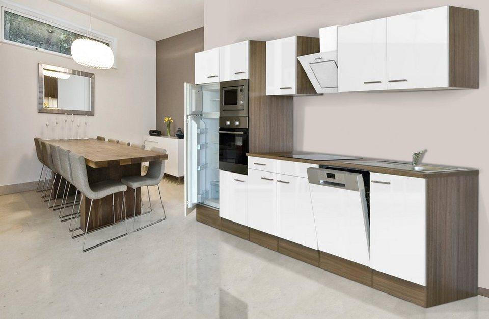 Küchenzeile mit E-Geräten »York«, Breite 340 cm in weiß/eichefarben