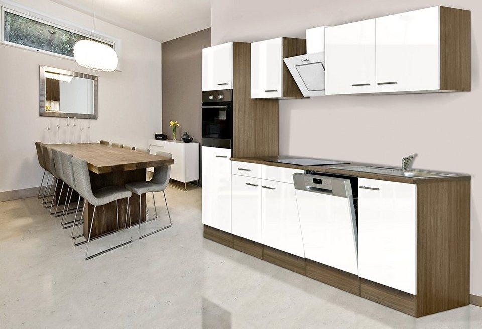 Küchenzeile mit E-Geräten »York«, Breite 280 cm in weiß/eichefarben