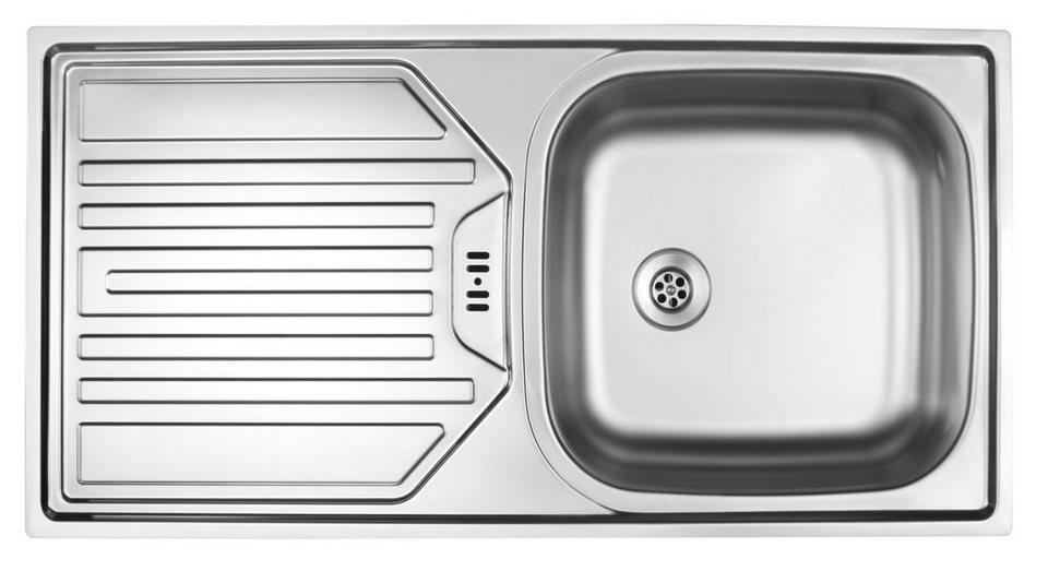 Küchen Edelstahl-Einbauspüle, 86x43,5 cm in edelstahl