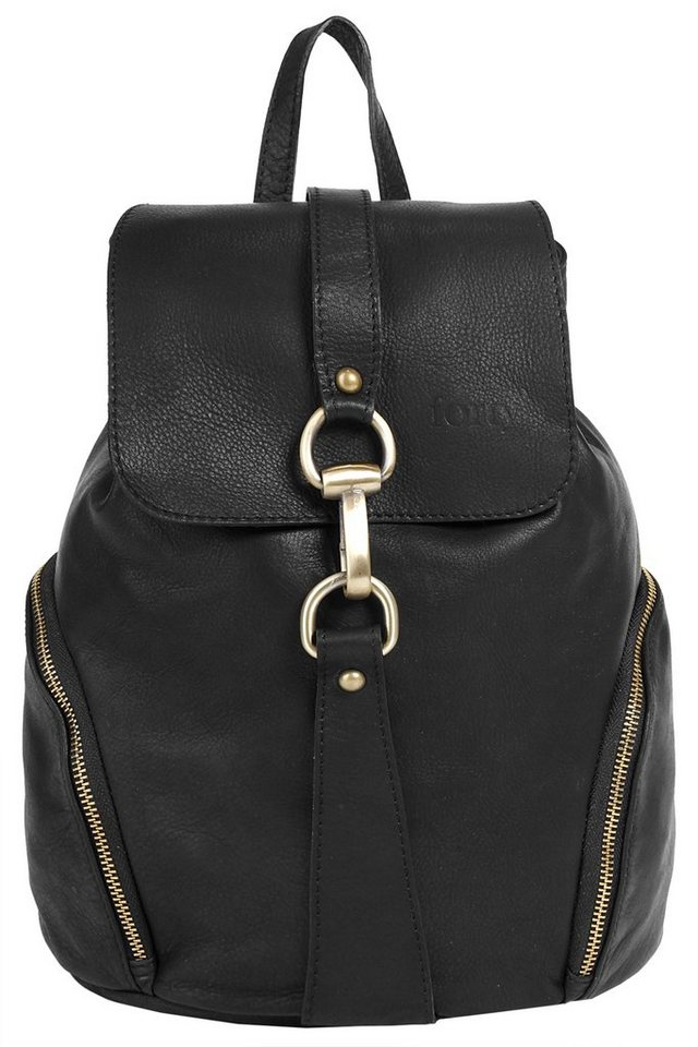 Forty degrees Leder Damen Rucksack in schwarz