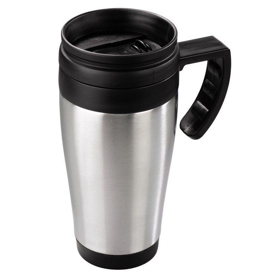 Xavax Isolierbecher Auto mit Henkel Edelstahl Trinkbecher 400 ml »Kaffeebecher Thermotasse Tasse« in Silber