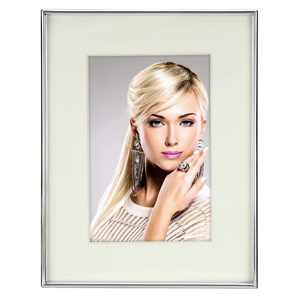 Hama Porträtrahmen Tampere, Silber, weißes Passepartout, 10 x 15 cm in Weiss