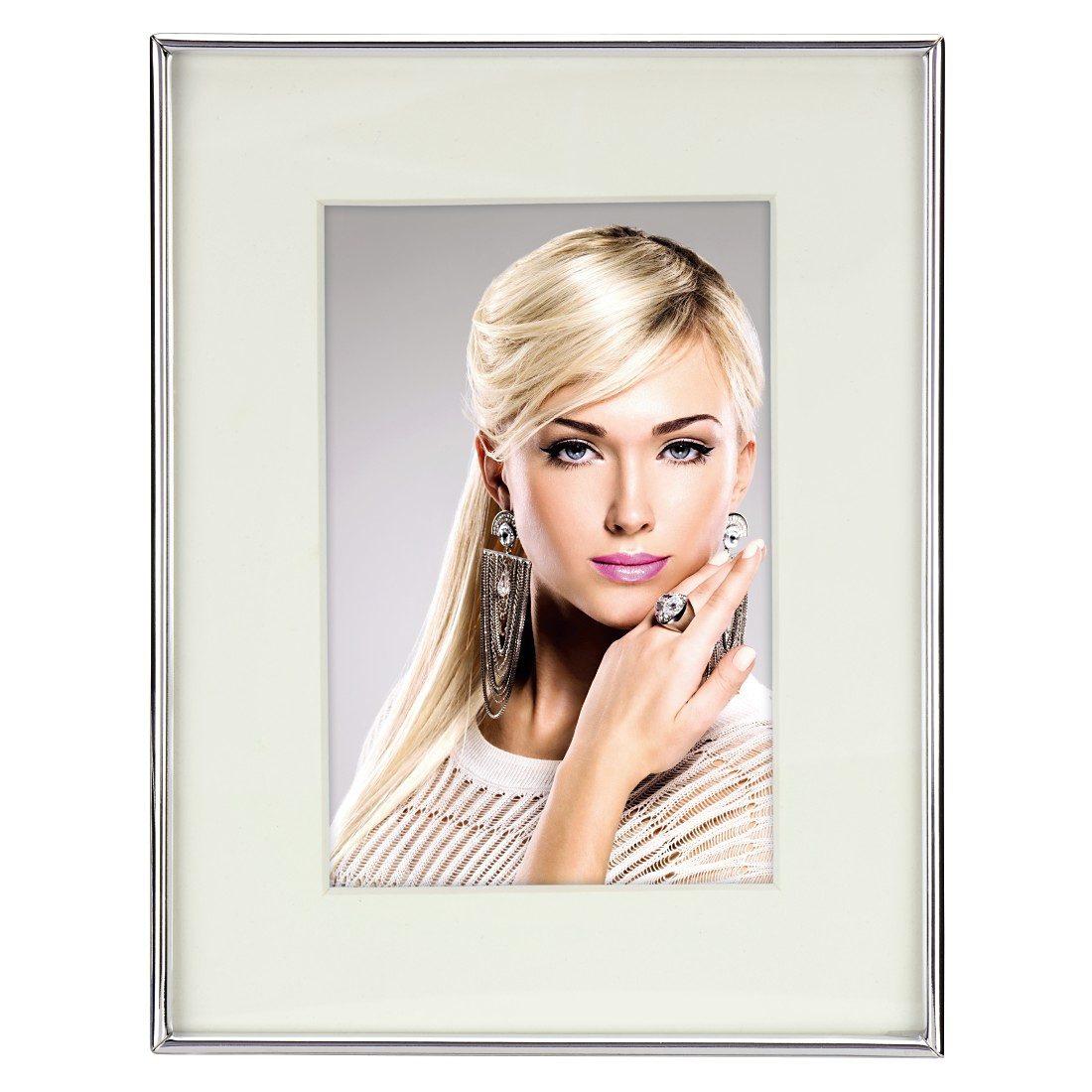 Hama Porträtrahmen Tampere, Silber, weißes Passepartout, 10 x 15 cm