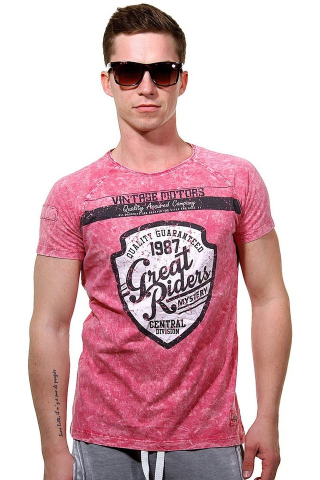 R-NEAL T-Shirt Rundhals slim fit in bordeaux