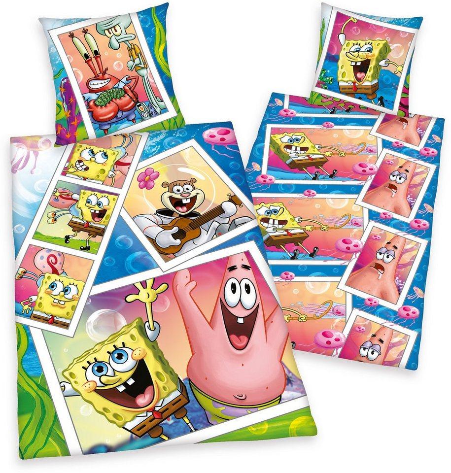 Bettwäsche, Spongebob, mit Spongebob und Patrick in multi