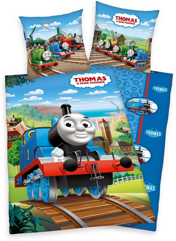 Bettwäsche, Thomas und seine Freunde, mit Lokomotive in blau
