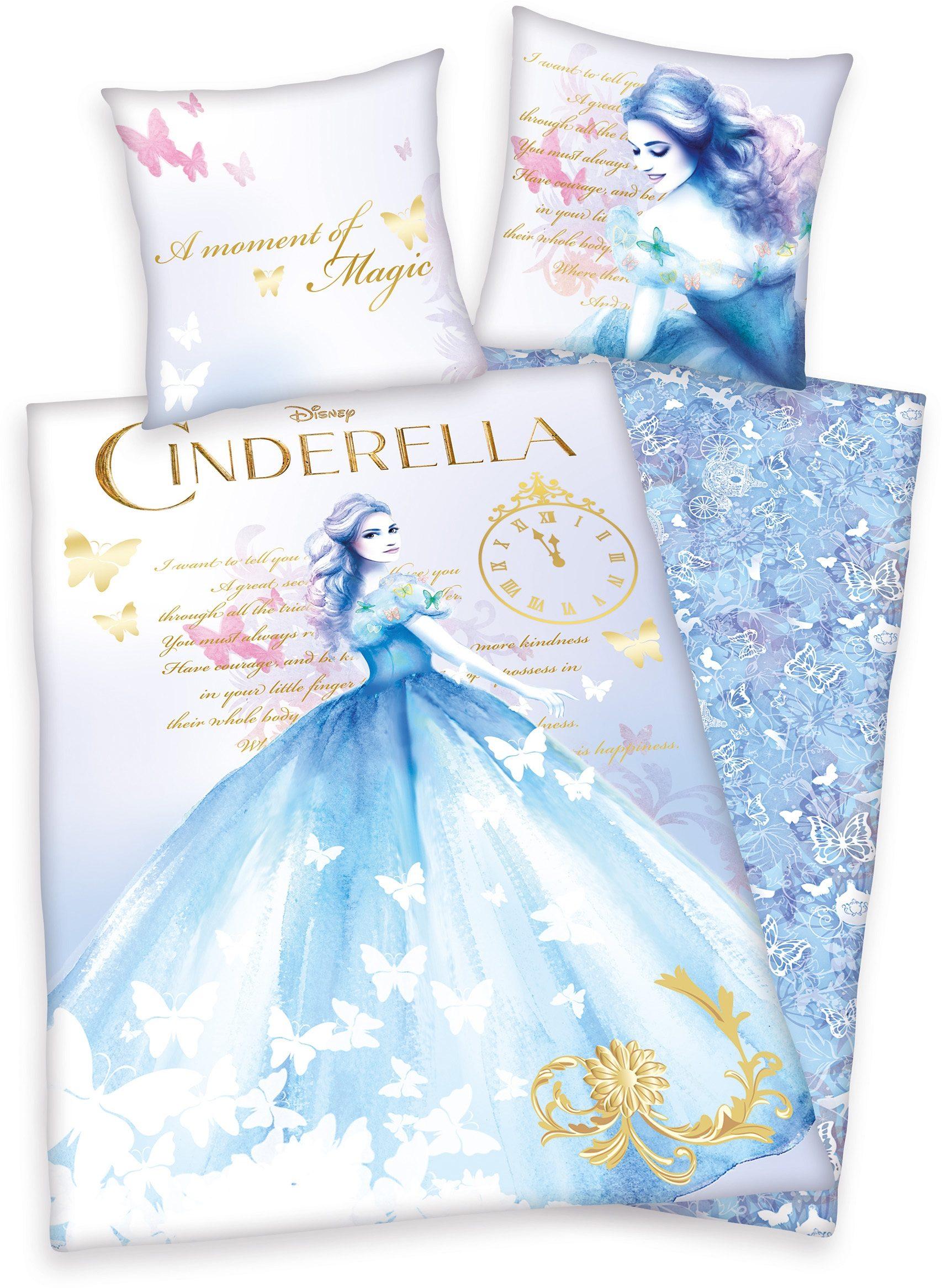 Bettwäsche, Disney, »Cinderella«, edle Farbtöne