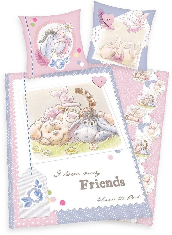 Kinderbettwäsche, Disney, »Winnie Pooh«, mit Freunden in rosa-blau