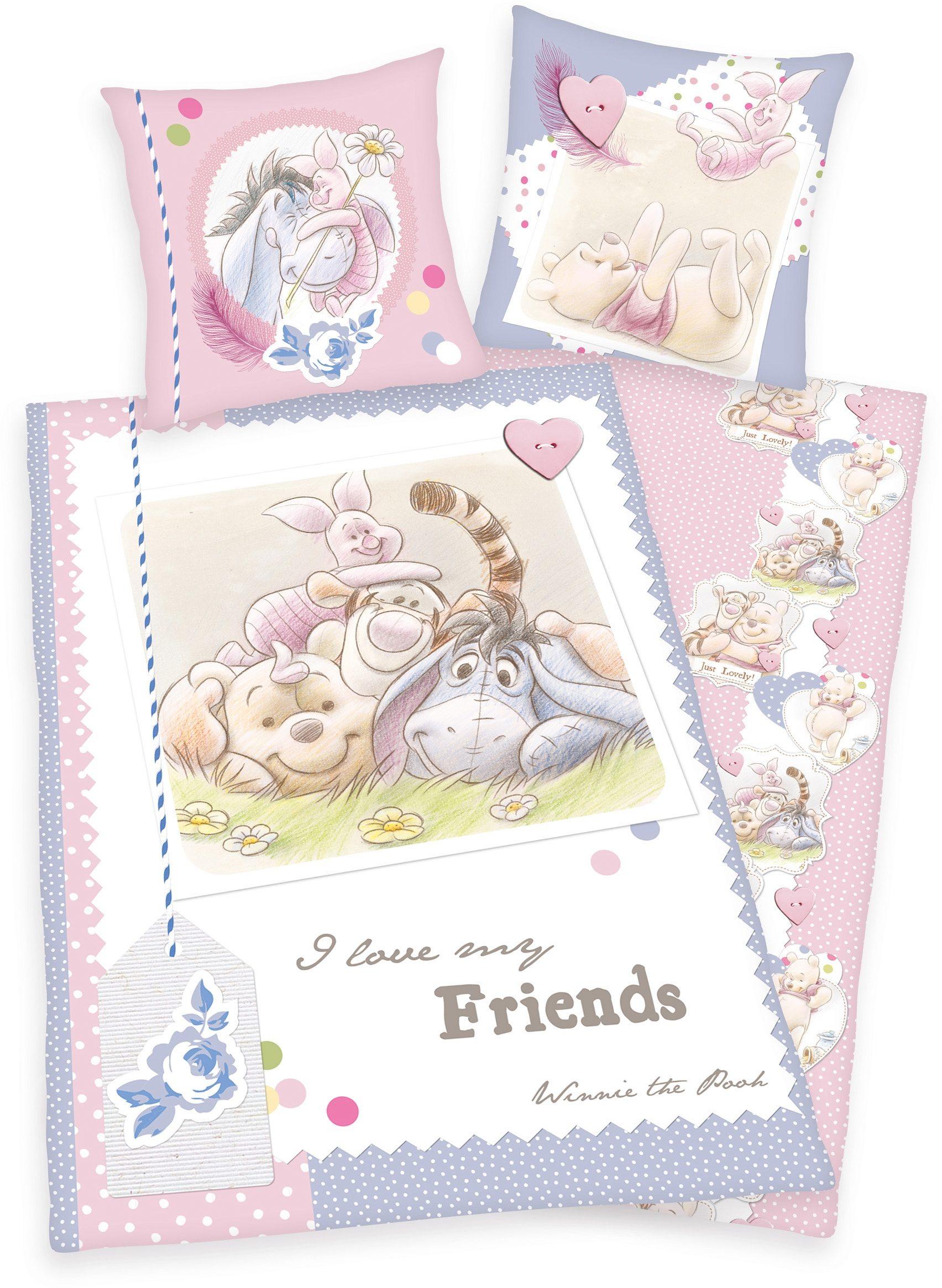 Kinderbettwäsche, Disney, »Winnie Pooh«, mit Freunden