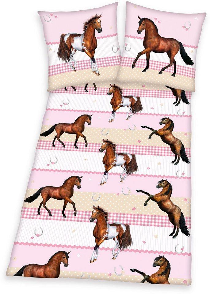 Bettwäsche, Young Collection, »Pferde«, für Pferdefreunde in rosa