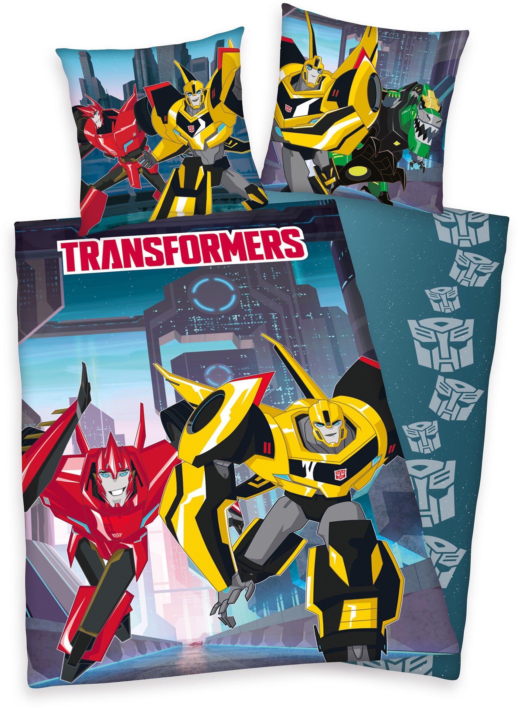 Bettwäsche, »Transformers Action«, mit Robotern