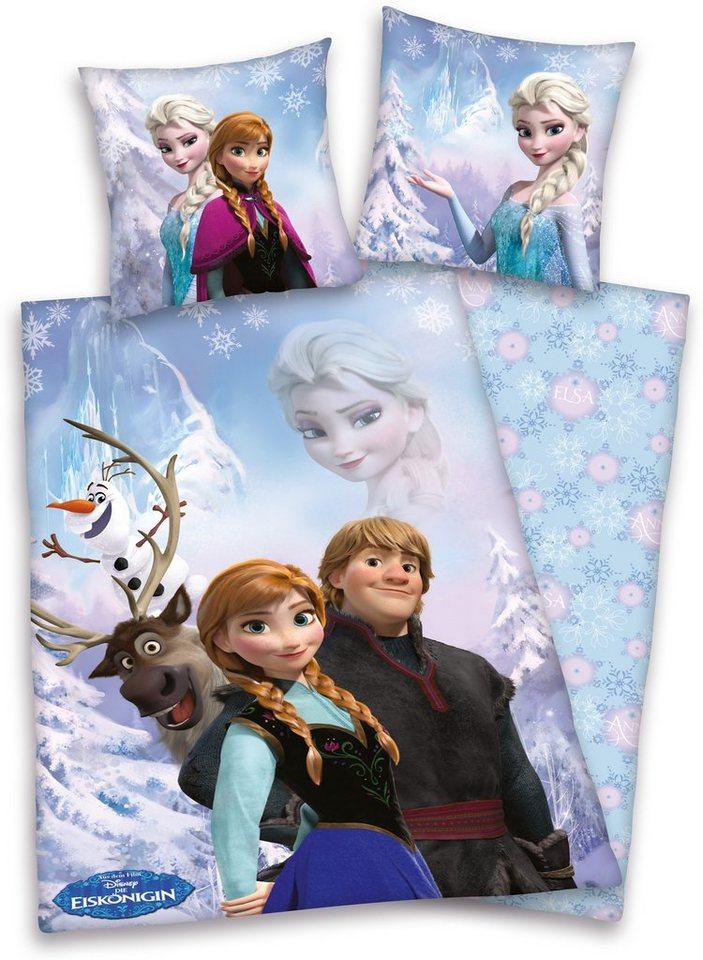 Bettwäsche, Disney, »Die Eiskönigin«, aus Bio-Baumwolle in blau