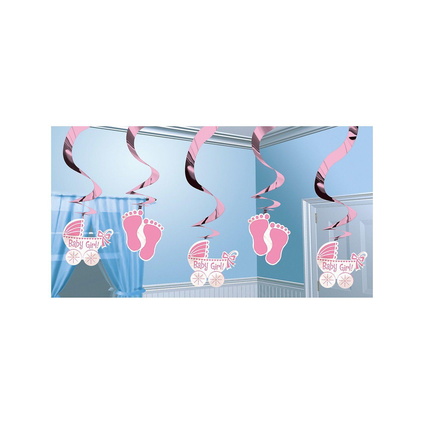 Amscan Dekospiralen Baby rosa, 5 Stück