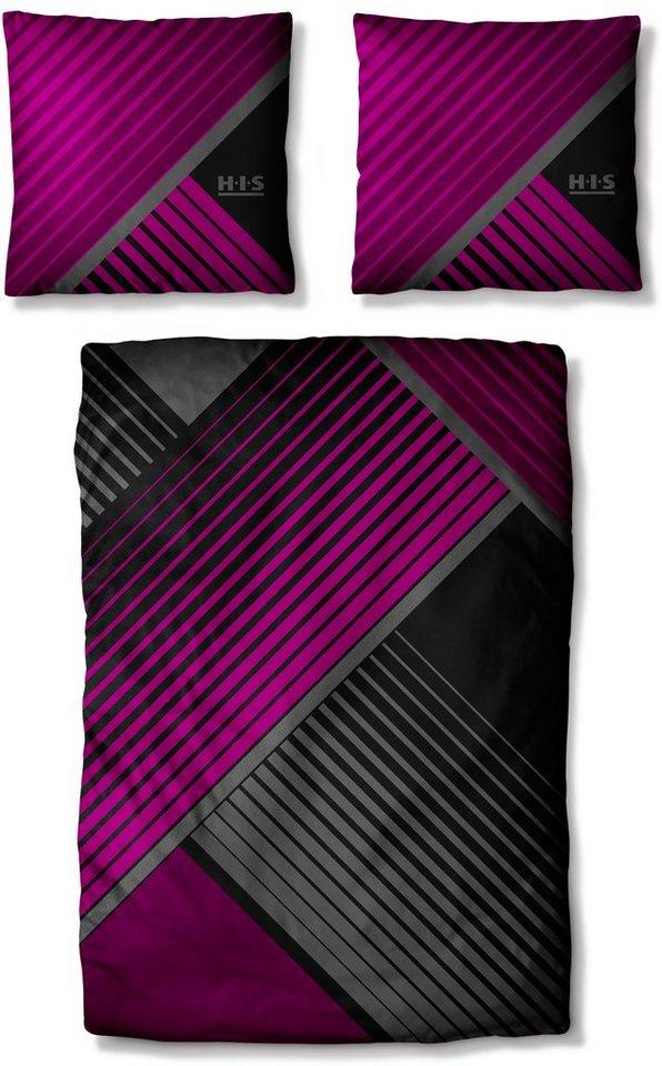 Bettwäsche, H.I.S, »Valleron 2«, mit grafischem Muster in pink