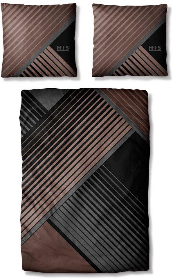 Bettwäsche, H.I.S, »Valleron 2«, mit grafischem Muster in braun