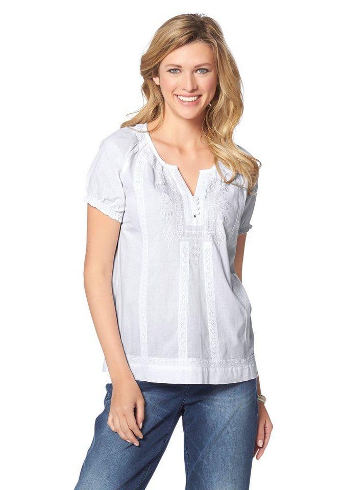 Cheer Shirtbluse mit Puffärmelchen in weiß