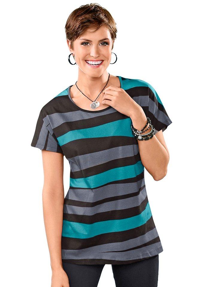 Classic Basics Shirt mit überschnittenen Schultern in smaragd-schwarz