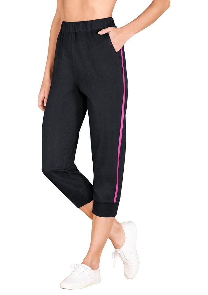 Classic Basics 3/4-Hose mit Rundum-Dehnbund in schwarz-pink
