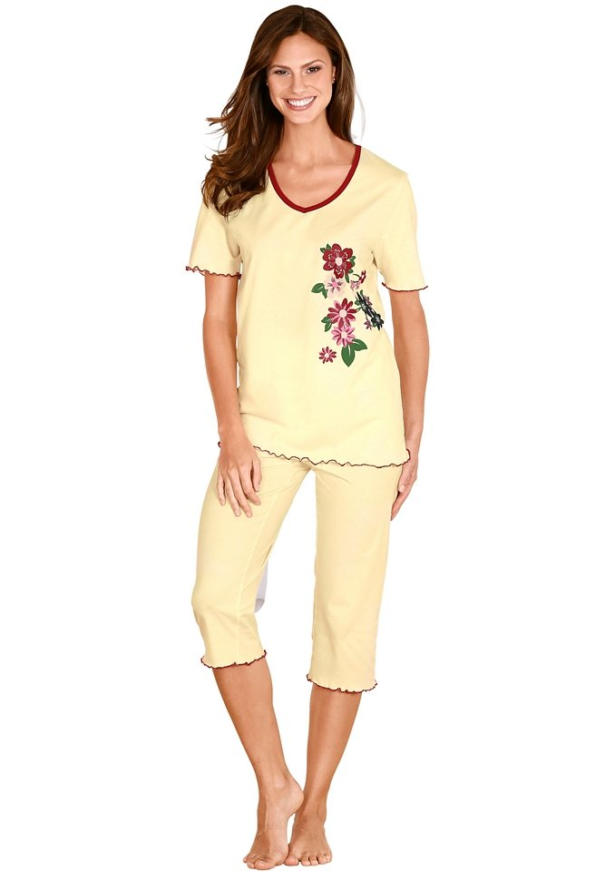Capri-Schlafanzug in gelb