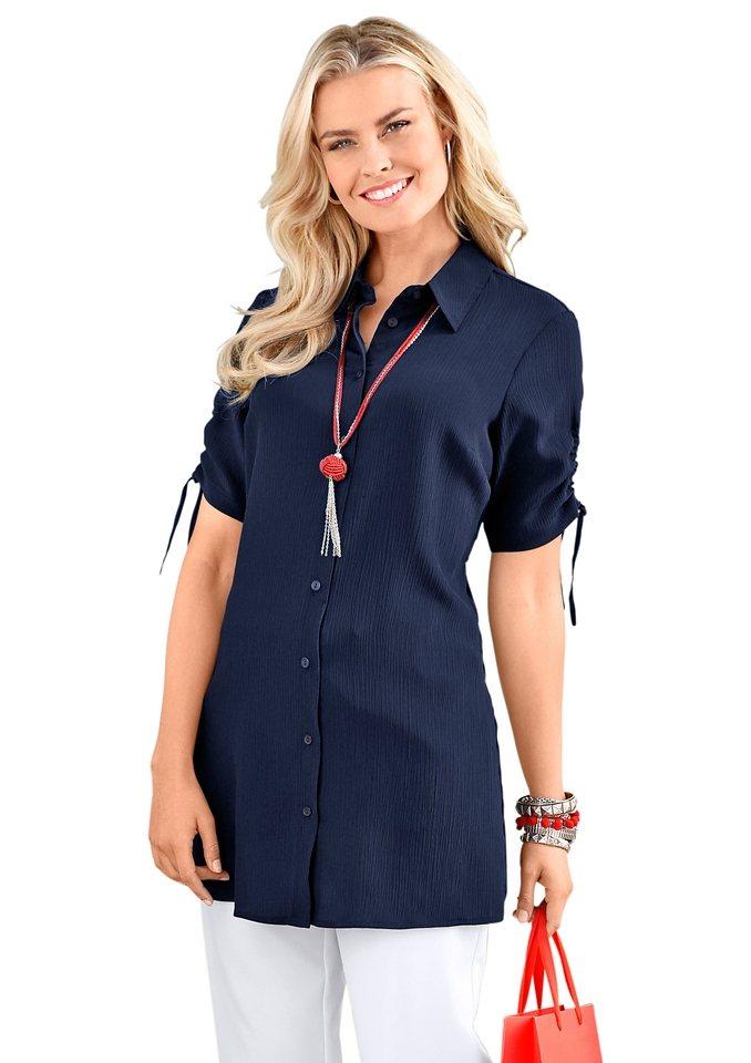 Classic Basics Bluse mit Hemdkragen in marine