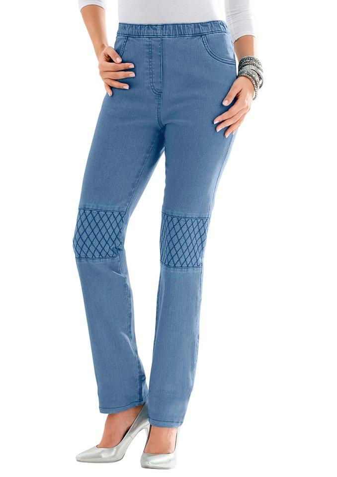 Classic Basics Jeans mit Ziernähte an der Kniepartie in blue-bleached