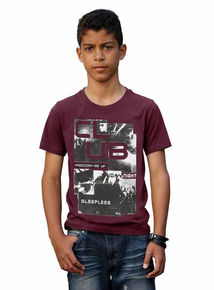H.I.S T-Shirt mit coolem Fotodruck in bordeaux