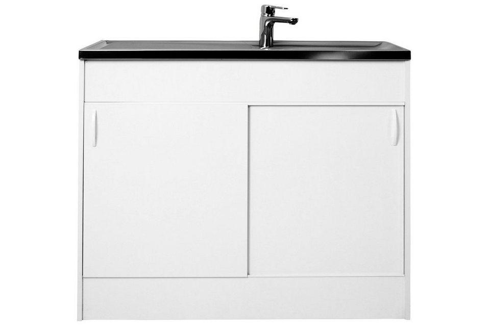 Spülenschrank mit 2 Schiebetüren, B/T/H: 100/50/85 cm in weiß