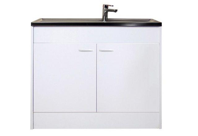 Spülenschrank mit 2 Türen, weiß, B/T/H: 100/50/85 cm