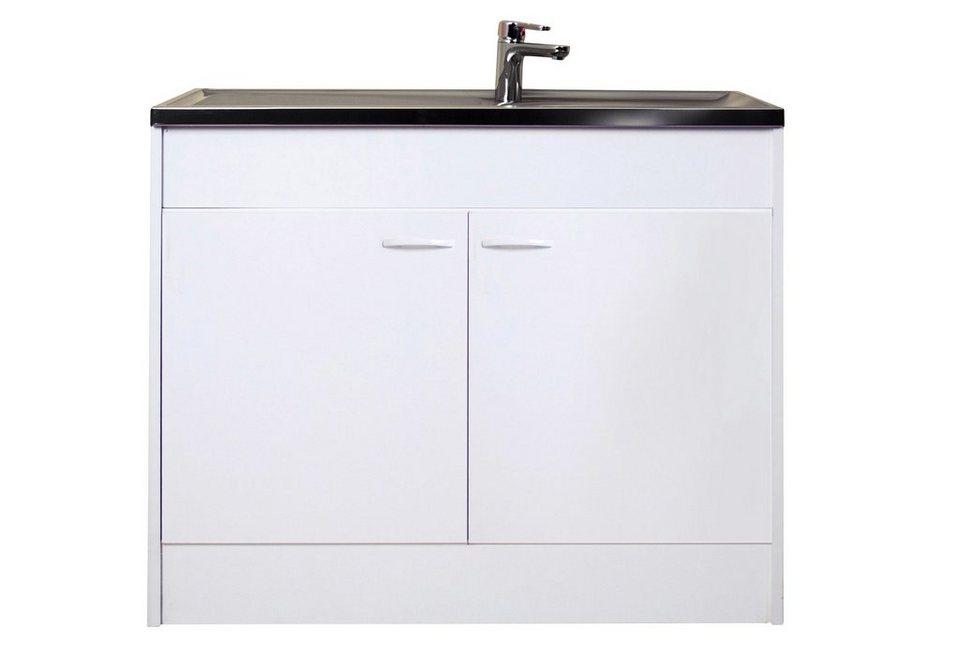 Spülenschrank mit 2 Türen, B/T/H: 100/50/85 cm in weiß