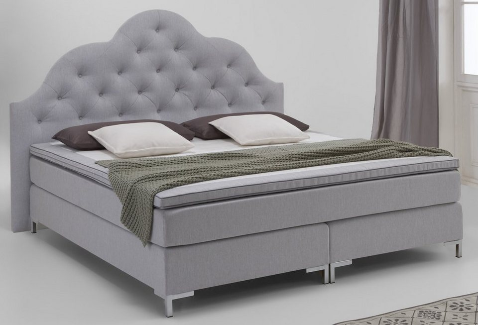 Boxspringbett, Atlantic Home Collection in hellgrau