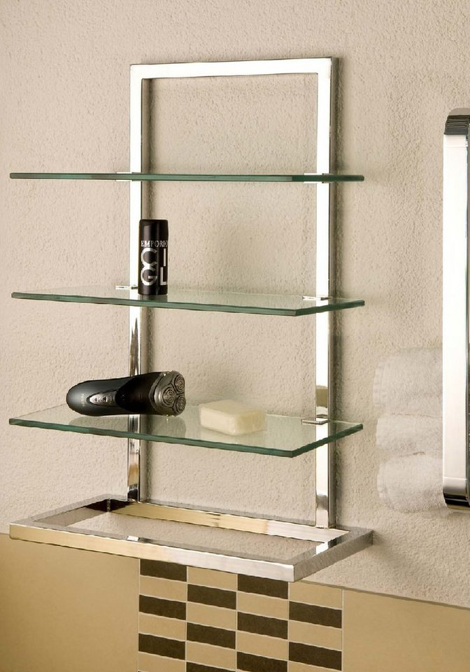 Wandregal »Gloria«, 60x40 cm, mit 3 Glasböden in chrom/Glas