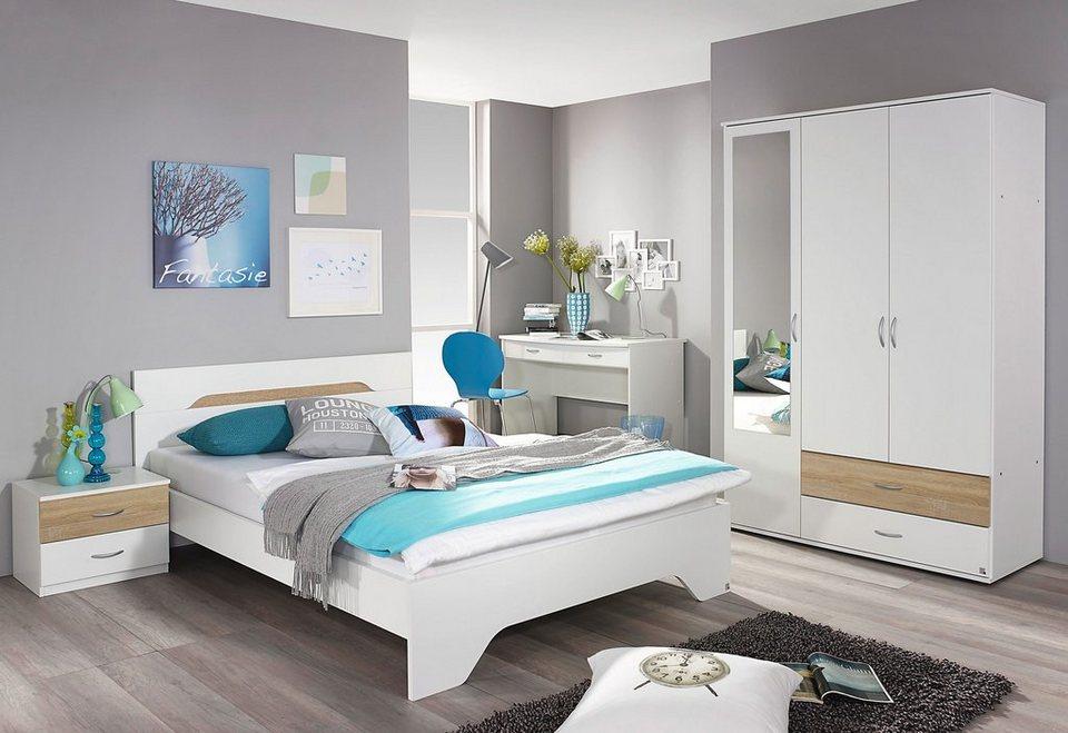 rauch Jugendzimmer-Sparset mit Kleiderschrank (4-tlg.) in weiß/struktureichefarben hell