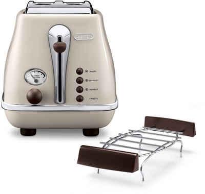 De'Longhi Toaster Incona Vintage »CTOV 2103.BG«, 2 kurze Schlitze, 900 W, im Retro Look, cremefarben