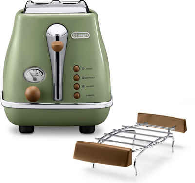 De'Longhi Toaster Incona Vintage »CTOV 2103.BG«, 2 kurze Schlitze, 900 W, im Retro Look, grün