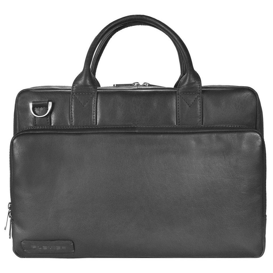 Plevier 700er Serie Aktentasche Leder 38,5 cm Laptopfach in schwarz