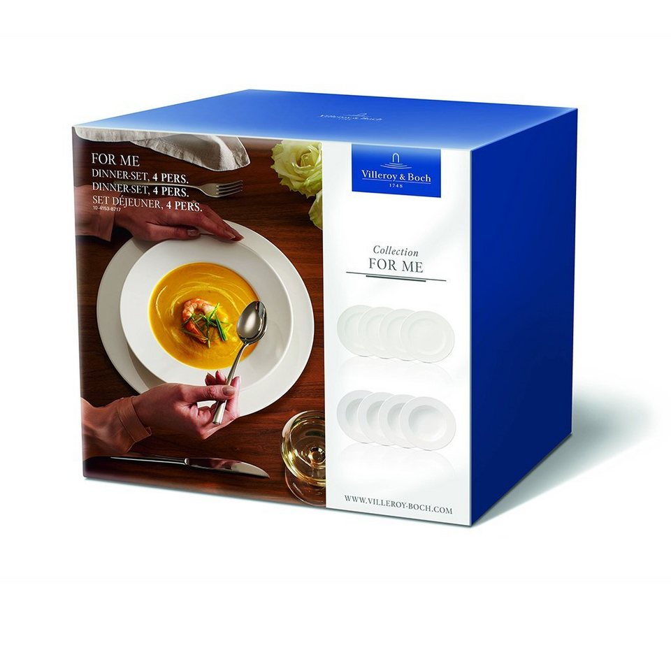 VILLEROY & BOCH Dinner-Set 4 Pers. »For Me« in Weiss