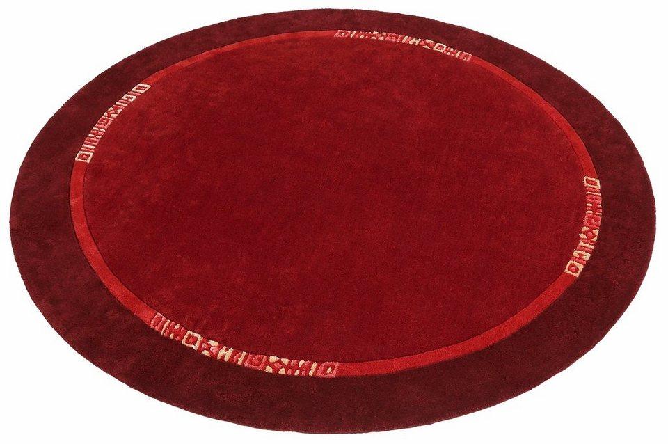 Teppich, Rund, Theko exklusiv, »Marvin«, handgearbeitet, Schurwolle in rot