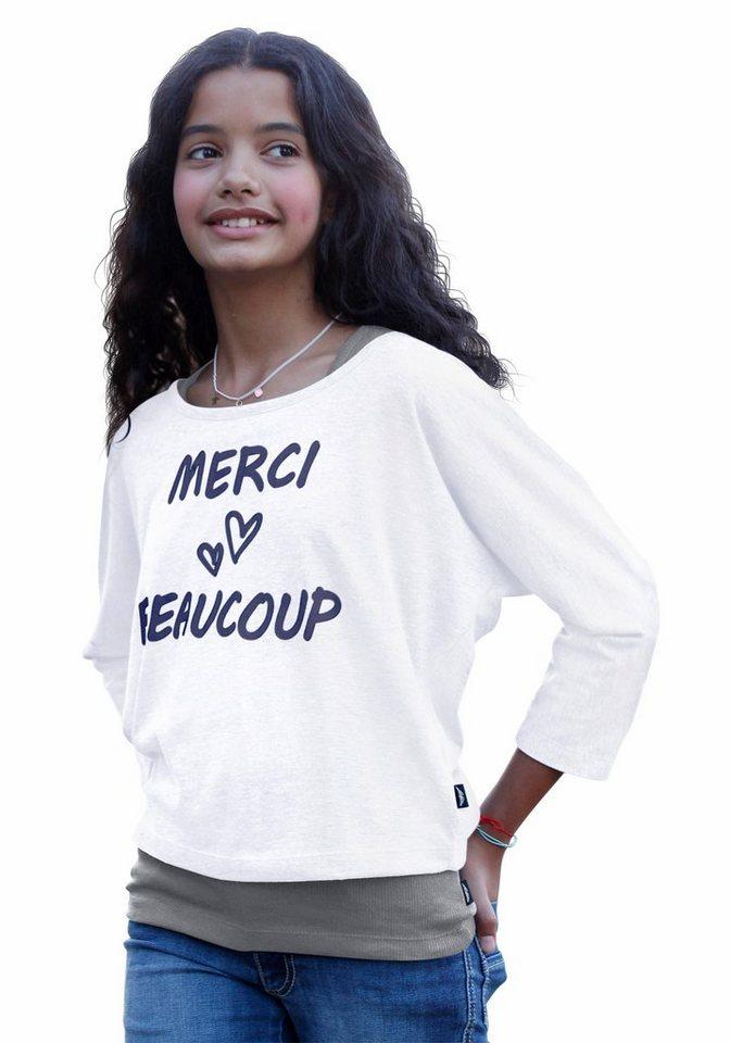 Arizona Shirt & Top bedruckt (2-tlg.), für Mädchen in Weiß-Grau-Meliert