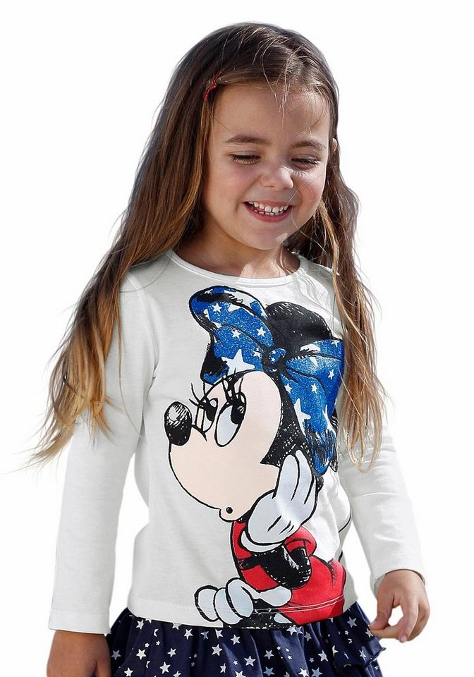 Disney Langarmshirt mit Minnie Mouse Motiv in wollweiß