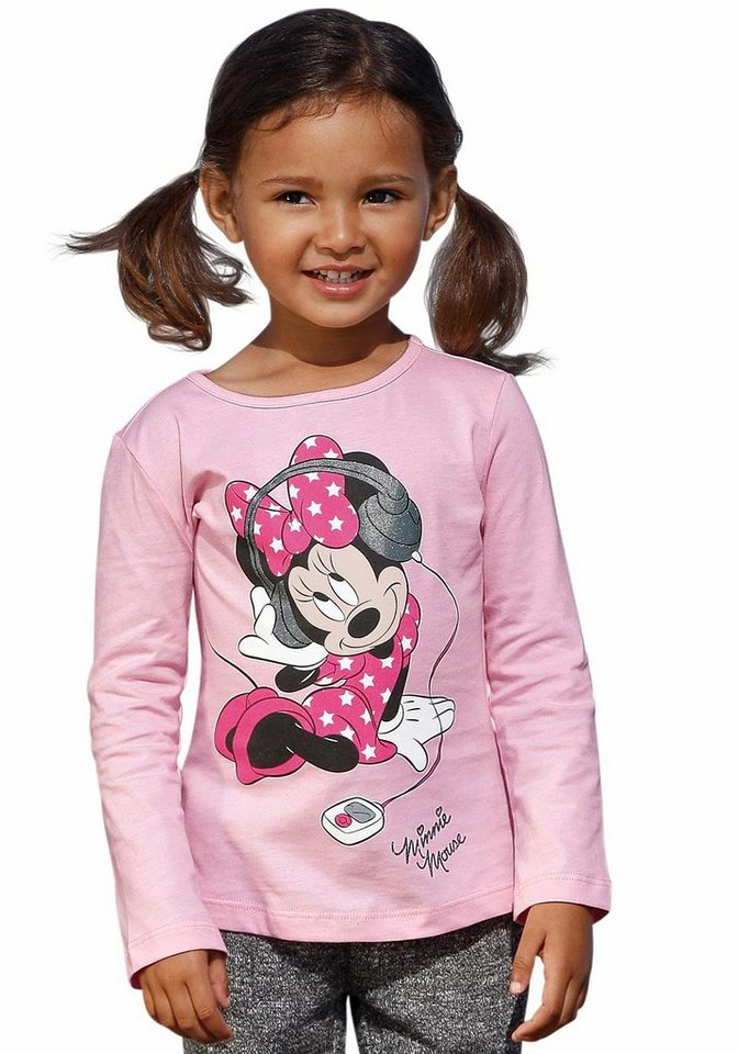 Disney Langarmshirt mit Minnie Mouse Motiv in rosa