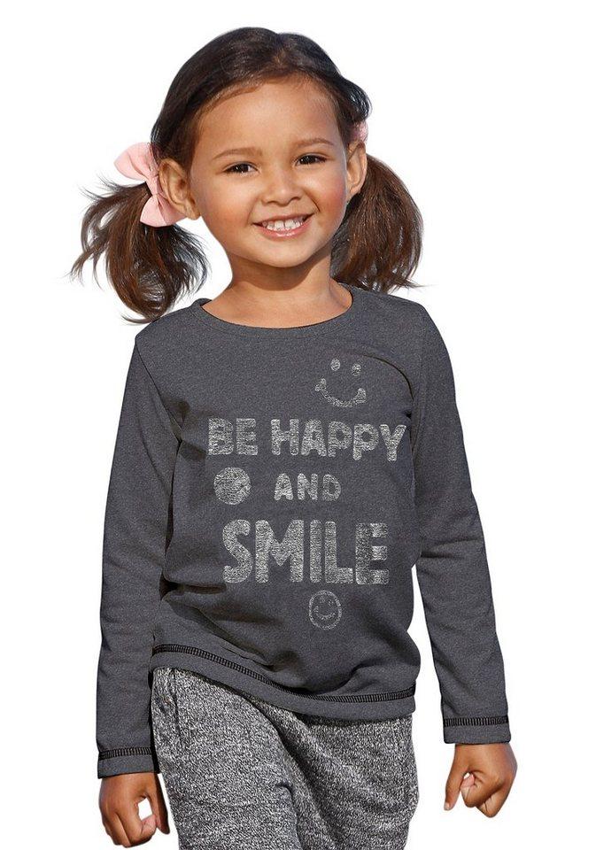 "Kidoki Langarmshirt ""BE HAPPY AND SMILE"" in anthrazit"