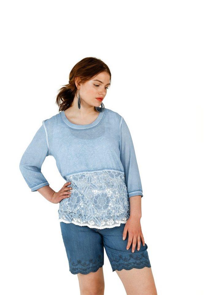 sheego Trend Blusenshirt mit Spitze in blau