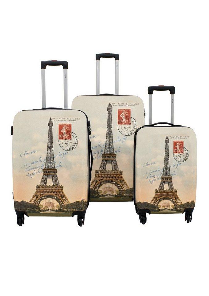 F23™ Hartschalen-Trolley-Set mit 4 Rollen, »Paris« (3-tlg.) in braun
