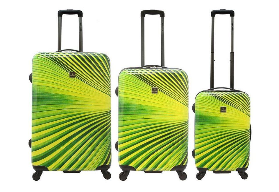 Saxoline Trolley-Set mit 4 Rollen, »Palm Tree« (3-tlg.) in grün